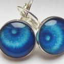 Kék Pitypang üveglapos fülbevaló, Ékszer, óra, Fülbevaló, A fülbevaló 16 mm-es üveglappal készült egy kedvelt mintával, de harsányabb kék színben. Emiatt rész..., Meska