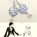 Büszkeség és balítélet fülbevaló, Ékszer, óra, Fülbevaló, Jane Austen nagysikerű könyve ihlette a 16 mm átmérőjű fülbevalót, mr Darcy és Elizabeth nevét tette..., Meska