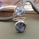 Csipke gyűrű, Ékszer, Gyűrű, Fekete csipke mintás dupla lapos gyűrű. 12 mm az üveglapok átmérője, a gyűrű állítható. ..., Meska