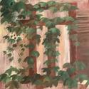 Vadszőlő 50x50 cm, Művészet, Festmény, Akril, Festészet, Ez a festmény egy alkotótáborban készült, komplementer színekkel. A házon lévő vadszőlő megihletett..., Meska
