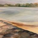 Dunai táj 40x60 cm, Művészet, Festmény, Olajfestmény, Festészet, Ez festmény Gödön a Duna parton készült, plein air technikával. Nem volt egyszerű kint ülnöm nyáron..., Meska