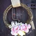 Rózsaszín frissesség, Otthon, lakberendezés, Dekoráció, Ajtódísz, kopogtató, Dísz, Szőlővessző alapra készítettem egy tavaszi kellemes hangulatot árasztó pasztell rózsaszín színvilágb..., Meska
