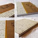 """""""Aranyló búza"""" napló, Naptár, képeslap, album, Baba-mama-gyerek, Esküvő, Jegyzetfüzet, napló, Papírművészet, Natúr és írásos mintájú díszpapírral borított napló, sárga szalag rátéttel és kézzel rajzolt búzaka..., Meska"""