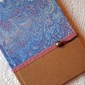 Kék-rózsaszín napló, Naptár, képeslap, album, Baba-mama-gyerek, Esküvő, Ballagás, Jegyzetfüzet, napló, Kék márványos mintázatú és natúr díszpapírral borított napló, rózsaszín pamutcsipke rá..., Meska