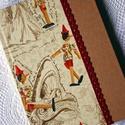 Pinokkiós napló, Naptár, képeslap, album, Baba-mama-gyerek, Jegyzetfüzet, napló, Papírművészet, Pinokkiós és natúr díszpapírral borított napló, bordó pamutcsipke rátéttel.  Mérete: A/5 (14,5 cm x..., Meska