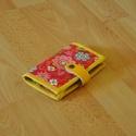 """Kártyatartó, kártyarendező """"Piros vidám virágok"""", Táska, Pénztárca, tok, tárca, Varrás, Sok-sok akár 24 db kártya tárolására alkalmas, plussz két belső zsebbel, melyben még egy-egy nagyob..., Meska"""