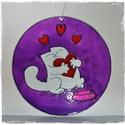 Simon's cat-es ablakfüggő , Dekoráció, Szerelmeseknek, Otthon, lakberendezés, Dísz, Festett tárgyak, Üvegművészet, Élcsiszolt, átfúrt, 15 cm átmérőjű, 3 mm vastagságú  üveglapra hidegen festett (dekor üvegfestékkel..., Meska