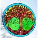 Életfa ablakfüggő , Dekoráció, Otthon, lakberendezés, Dísz, Festett tárgyak, Üvegművészet, Élcsiszolt, átfúrt, 15 cm átmérőjű, 3 mm vastagságú  üveglapra hidegen festett (dekor üvegfestékkel..., Meska