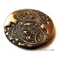 Süthető gyurma kaboson-  bronz paisley, 3 cm, Fémes bronz-fekete színű süthető gyurma lencs...