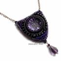 Gyöngyhímzett lila-fekete medál, pillangó, Saját készítésű, lila-fekete pillangó mintá...