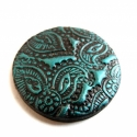 Süthető gyurma kaboson, tengerkék-fekete, paisley levél, 3 cm, Tengerkék - feket színű süthető gyurma kaboso...