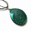 Paisley medál,  süthető gyurma nyaklánc Indiai, henna mintával, fekete - tengerkék, Paisley mintájú, csepp alakú medál süthető g...