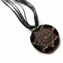 Mandala medál, fekete-bronz süthető gyurma nyaklánc, Lótuszvirág mandala medál, süthető gyurmábó...