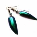 Páncél - Irizáló zöld fülbevaló, Igazi különlegesség, gyönyörű, aranyosan - k...