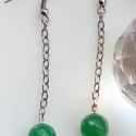 Aventurin fülbevaló, Ékszer, óra, Fülbevaló, Zöld aventurin láncos fülbevaló,hossza 7 cm., Meska
