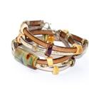 Barna-arany többsoros bőr karkötő-egyedi üveggyöngyökkel