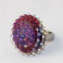 Minden napra egy gyűrű ! - lila buborékos, Ékszer, Gyűrű, Ha szeretnél minden nap a hangulatodhoz és a ruhatárodhoz illő gyűrűben tündökölni, akkor ezt a term..., Meska