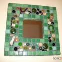 """Mozaik tükör - """"Zölderdő titkai"""", Dekoráció, Otthon, lakberendezés, Képkeret, tükör, Dísz, Mozaik, Üvegművészet, Mozaik tükör - """"Zölderdő titkai""""   Üvegmozaikkal díszített tükör. Megnyugtató, üde színeivel igazán..., Meska"""
