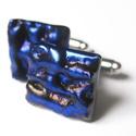 Hunor mandzsettagomb, Ékszer, óra, Férfiaknak, Mandzsettagomb, Fusing technikával olvasztott sötétkékes-picitlilás mandzsettagomb. Üveg mérete: 1,6 x 1,6 cm..., Meska