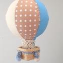 Hőlégballon gyerekszobai függődísz (3 db-os) - Kék, Baba-mama-gyerek, Gyerekszoba, Mobildísz, függődísz, , Meska