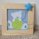 Textil képek gyerekszobába 3D kiegészítőkkel (3 db-os) - Kék, Baba-mama-gyerek, Gyerekszoba, Baba falikép, , Meska