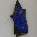 Kék pillangó üvegmozaik falidísz, Dekoráció, Otthon, lakberendezés, Képzőművészet, Dísz, Mozaik, Üvegművészet, Üvegmozaik falidísz akasztóval  Mérete: kb. 20*40*2cm  Pácolt fa alapra különleges formára vágott 6..., Meska