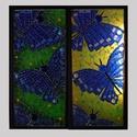 Lepkék - üvegmozaik falikép világítással, Dekoráció, Otthon, lakberendezés, Lámpa, Falikép, Mozaik, Mindenmás, Világító üvegmozaik falikép  mérete:25,5*52cm  Üveglapra ragasztottam a motívumot üvegmozaik techni..., Meska