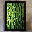 Zöld világ - üvegmozaik falikép világítással, Dekoráció, Otthon, lakberendezés, Lámpa, Falikép, Világító üvegmozaik falikép  mérete:23*32cm  Üveglapra ragasztottam a motívumot üvegmozaik ..., Meska