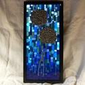 Éji virágok - üvegmozaik falikép világítással, Dekoráció, Otthon, lakberendezés, Lámpa, Falikép, Mozaik, Mindenmás, Világító üvegmozaik falikép  mérete:25,5*52cm  Üveglapra ragasztottam a motívumot üvegmozaik techni..., Meska