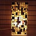 Üvegmozaik lámpa - arany-fekete-fehér szögletes, Képzőművészet, Otthon, lakberendezés, Lámpa, Asztali lámpa, Üvegmozaik asztali lámpa  Négyzethasáb alakú lámpatestre készült a motívum  kézzel vágott..., Meska