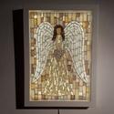 A szeretet angyala - üvegmozaik falikép világítással, Dekoráció, Otthon, lakberendezés, Lámpa, Falikép, Világító üvegmozaik falikép  mérete:23*32cm  Üveglapra ragasztottam a motívumot üvegmozaik ..., Meska