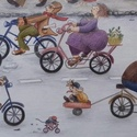 Városi kerékpárosok, Baba-mama-gyerek, Képzőművészet, Gyerekszoba, Grafika, Mindenmás, Festészet, Egyedi grafika alapján készült nyomat, A/3-as méretben, vászonra kasírozva., Meska