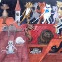 Cicatalálka, Baba-mama-gyerek, Dekoráció, Képzőművészet, Baba-mama kellék, Festészet, Mindenmás, Egyedi illusztráció alapján készült nyomat, vászonra kasírozva, A/3-as méretben., Meska