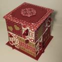 Bordó hópelyhes adventi naptár, Gyufásdobozból készült adventi naptár. Mind a...