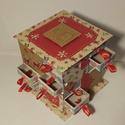 Mézeskalács mintás adventi naptár, Gyufásdobozból készült adventi naptár. Mind a...