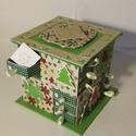 Zöld fenyőfa mintás adventi naptár, Gyufásdobozból készült adventi naptár. Mind a...