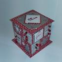 Hópelyhes piros-ezüst adventi naptár, Gyufásdobozból készült adventi naptár. Mind a...