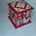 Piros adventi naptár, Gyufásdobozból készült adventi naptár. Mind a...