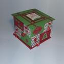 Piros-zöld adventi naptár, Gyufásdobozból készült adventi naptár. Mind a...