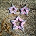 Csillag lánc és fülbevalók, Ékszer, Medál, Nyaklánc, Fülbevaló, Myuki delica gyöngyből készült, pasztell színű rózsaszín és szürke medál és fülbevalók..., Meska