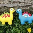 Filc dinó (kis filc dinók), Játék, Baba-mama-gyerek, Játékfigura, Baba-mama kellék, Baba-és bábkészítés, Varrás, Ezeket az aranyos kis dinókat vidám színekben készítettem el (sárga, kékeszöld, világoszöld, rózsas..., Meska