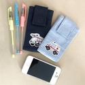 mobiltok (mentős mobiltok), Táska, Pénztárca, tok, tárca, Mobiltok, Varrás, Ezt a két mentős mobiltokot, sötétkék farmeranyagból és világoskék vászon anyagból készítettem.  Mi..., Meska