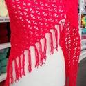 Piros óriás kendő , Ruha, divat, cipő, Kendő, sál, sapka, kesztyű, Kendő, Minden évszakban használható, élénk piros színű  kendőt horgoltam,puha,meleg ,kellemes viselet,nagyo..., Meska