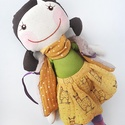 Lámalány - textilbaba, baba, Baba-mama-gyerek, Játék, Gyerekszoba, Baba, babaház, 40 cm magas textilbaba levehető kendővel, mellénnyel és szoknyával. A szoknyája lámamintás b..., Meska