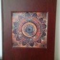 Mandalás napló, Naptár, képeslap, album, Jegyzetfüzet, napló, Kézi könyvkötéssel készített napló. 15 cm x 21 cm méretű, 100 lapos könyv. Mandala képpel díszítve m..., Meska