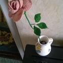 Horgolt rózsa :) (váza nélkül), Dekoráció, Esküvő, Dísz, Esküvői dekoráció, Horgolt rózsa, világos rózsaszín-hússzínben, Drót, szalaggal bevont szárral, horgolt levelek..., Meska