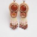 Ébredés  -   gyöngy hímzett fülbevaló, Gold sand quartz kővel és egy nagyon szépséges...