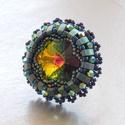 Vitral - gyöngy hímzett gyűrű, Ékszer, Képzőművészet, Nyaklánc, Nagyon elegáns, modern női színek.  A swarovski kristályok fantasztikusan ragyognak benne.  Nagyítsd..., Meska