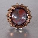 Achát - gyöngy hímzett gyűrű, Ékszer, Nyaklánc, Az ezer arcú achátból most egy opálosat hoztam ebbe a gyűrűben.  Nem akartam elvonni a figyelmet az ..., Meska
