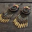 Ősz - gyöngy hímzett fülbevaló, Ékszer, Képzőművészet, Fülbevaló, Nagyon szuper, könnyű, ficánkoló fülbevalót készítettem metál bronz színben. Az átmérője 25mm, hossz..., Meska